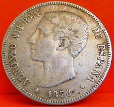 ESPAÑA, 5 PESETAS, 1876 DEM . ALFONSO XII. PLATA.