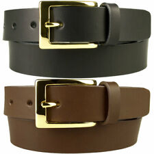 Mens Leather Belt With Gold Plated Buckle - Made In UK By Skilled UK Craftsmen