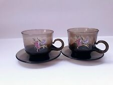 Set Of 2 Brown Smokey Glass Floral Coffee Tea Cups With Saucers