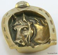 Antique Edwardian Small Brass Horse Head Tray for Coins Trinkets Keys 3.5in