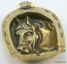 ANTIQUE 1920s BRASS HORSE HEAD IN HORSE SHOE SHAPED ASHTRAY PIN DISH