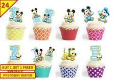 48 RAGAZZI 1st Festa di Compleanno Mickey Mouse Tazza TORTA DECORAZIONI PER CHIGNON commestibili StandUp
