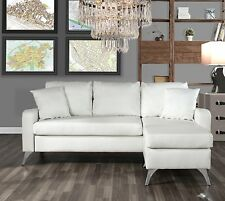 Bonded Leather Sectional Sofa - Small Space Couch w/ Matching Pillows (2), White