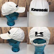 Vintage KAWASAKI White & Black Embroidered Hook & Loop Back Baseball Hat Cap
