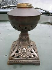 VICTORIAN CAST IRON & COPPER OIL LAMP FONT AND BASE 1889 DUPLEX BAYONET COLLAR