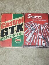 2 Lot Castrol GTX Motor Oil & Snap On Tools Tin Sign Vintage Style Garage Shed