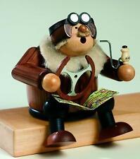 "German Incense Smoker KWO Pilot Sitting Handmade Wood 6"""
