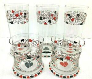 Set Of 3 Poker Glasses 2 Tumblers Beer Drinking Barware Card Game Night Man Cave