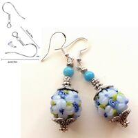 .925 Sterling Silver Hook Lampwork Glass Beads Blue Flower Dangle Earrings (E7)