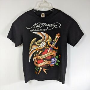 Ed Hardy by Christian Audigier Mens Black T-shirt Size Large Eagle heart Print