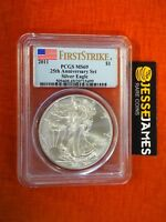 2011 SILVER EAGLE PCGS MS69 FLAG FIRST STRIKE FROM 25TH ANNIVERSARY SET LABEL