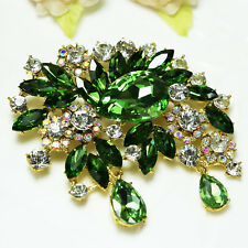 Vintage Green Flower Wedding Bridal Decor Rhinestone Crystal Pin Brooch Bouquet