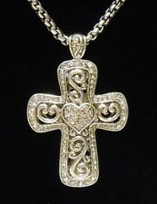 Silver Cross Necklace Heart 18 inch Chain Sparkles BEAUTIFUL! GREAT GIFT ITEM!
