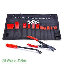 13 Piezas Coche Herramienta de eliminación de tapicería recorte de nylon y 2 * Sujetador Clips Removedores Apiladoras