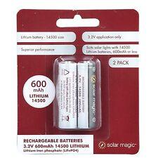 Solar Magic LITHIUM RECHARGEABLE BATTERIES 2Pcs 3.2V 600mAh, 14500 Size, LiFePO4