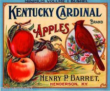 Henderson Kentucky Cardinal Bird Apple Fruit Crate Label Vintage Art Print