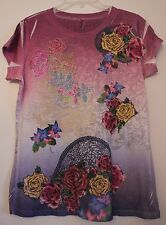 Roses Multi-Color S & J Batiked Tee Juniors 2XL Floral Polyester Short Sleeve