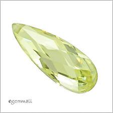 4 Cubic Zirconia Flat Pear Briolettes Beads 7x18mm Peridot #64078