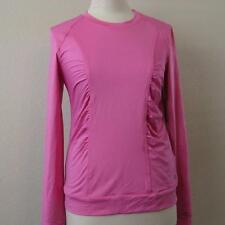 LIJA womens Med pink Glam gathered pullover l/s top shirt athletic tennis NEW
