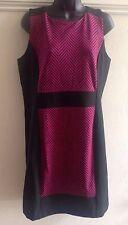 NWT MICHAEL KORS SHEATH DRESS - SIZE 12 - BLACK SHOCKING PINK HERRINGBONE $160