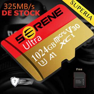 Neu Micro SD Karte Speicherkarte 256GB 512GB 1TB 325MB/s Class10 Mikrokarte DE