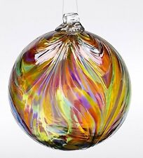 """Kitras Art Glass Feather Witch Ball Festive Multi Colors 6"""""""