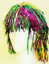 Multi Coloured Tinsel Wig Cyber Disco Nu Rave Festival Lady Gaga Fancy Dress