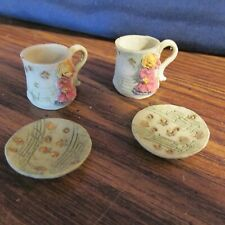 Vintage Doll Size Mini Resin Tea Set pieces, 2 cups and 2 saucers,