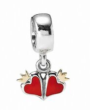 Authentic Pandora Red Double Hearts Gold Crowns Bead/Charm Silver 925/14kt ALE