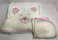 Organic Bamboo Hooded Baby Towel Boys & Girls Towels and Washcloth(Pink)