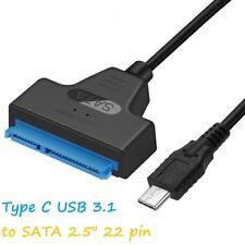 """Tipo C USB 3.1 a SATA 3.0 22Pin 2.5"""" adaptador de cable de plomo para la unidad de disco duro HDD SSD"""