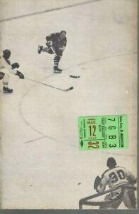1967 3/12 Hockey program/ticket Toronto Mapleleafs @ Chicago Blackhawks,scored~G