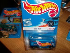 HOTWHEELS RARE FIRST EDITION 1996 VOLKSWAGEN VW DRAG BUS IN BLUE ON EURO CARD