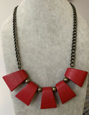 Plunder Design Fashion Trendy Vintage Jewelry Red Antique Gold Chain Necklace