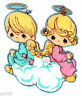 """3.5"""" Precious moments boy girl angel fabric applique iron on character"""
