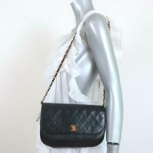 Vintage Chanel 1980s Double Flap Shoulder Bag Black Quilted Leather Small Clutch