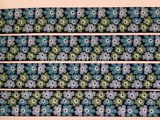 """BB Ribbon BLUE ABSTRACT FLOWERS  2m grosgrain 7/8"""" 22mm craft floral"""