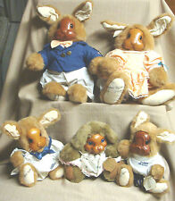 Lot of 5 ROBERT RAIKES Plush BUNNY RABBITS w/Wood Faces - Family + 1 - All Tags