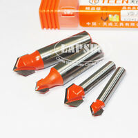 """1/4"""" 1/2"""" Shank Router CNC Engraving Wood Working 3D V Groove Drill Bit Cutter K"""
