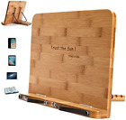 Cookbook Stand Book Recipe Tablet Holder Adjustable With Strong Clips Bamboo