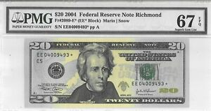 $20 2004 FEDERAL RESERVE STAR NOTE RICHMOND F 2089 E * LUCKY MONEY VALUE $750
