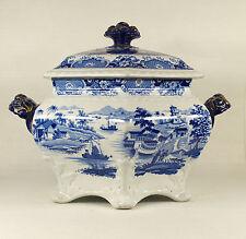 RIDGWAY Staffordshire Blue Transferware Indian Temple Soup Tureen circa 1830