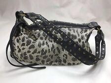 Betsey Johnson Designer Small Handbag Snake Chain Link Leopard Purse
