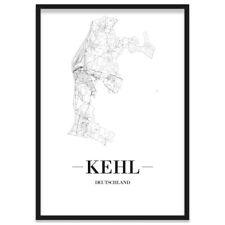 JUNIWORDS Stadtposter, Kehl, Weiß, Kunstdruck Plan Map