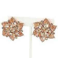 """1.50"""" rose gold floral crystal rhinestone clip on earrings non pierced"""