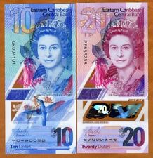 SET Eastern East Caribbean, $10;20 ND (2019) Polymer, QEII redesigned Gem UNC