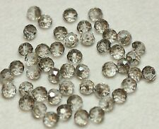 50 CRYSTAL GLASS FACETED SUNCATCHER 8x6mm BEADS - SILVER GREY (BBA205)
