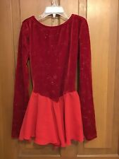 Red Ice Skating Figure Skating Dress Size Adult Xsmall
