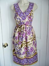 MUSE Dress NEW 4 V-neck Front Sleeveless Cotton Silk Eyelet Gorgeous Florals WoW
