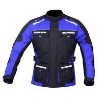 Motorcycle Motorbike Jacket Waterproof Textile CE Armoured Reflectors Blue